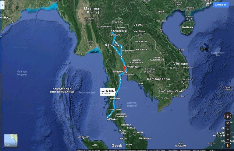 การวางแผนการเดินทาง – Kār wāngp̄hæn kār deinthāng – Reiseplanung